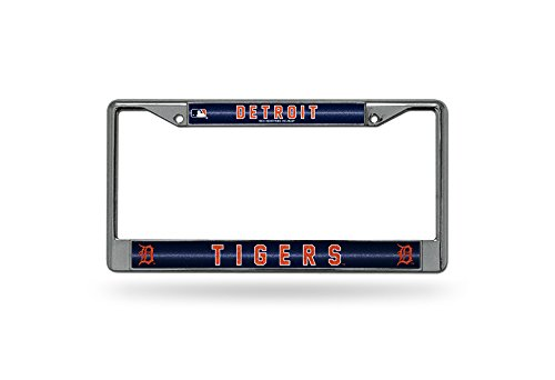 Mlb Tigers Decal Detroit (MLB Detroit Tigers Bling License Plate Frame, Chrome, 12 x 6-Inch)