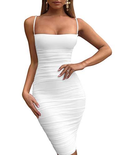 - BEAGIMEG Women's Sexy Spaghetti Strap Bodycon Ruched Club Mini Party Dress White