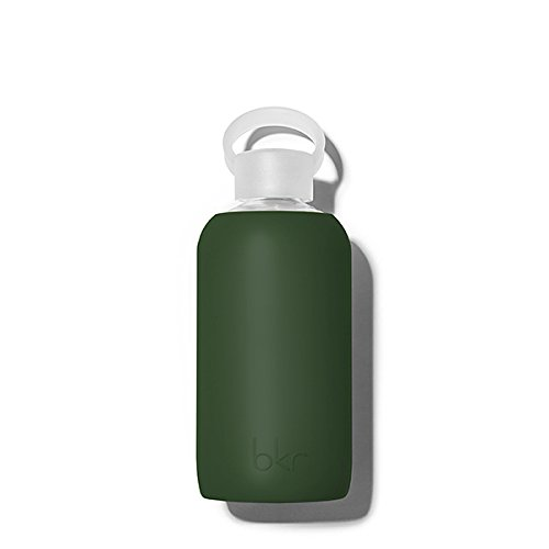 - bkr Cash Glass Water Bottle with Smooth Silicone Sleeve for Travel, Narrow Mouth, BPA-Free & Dishwasher Safe, Opaque Army Green, 16 Oz