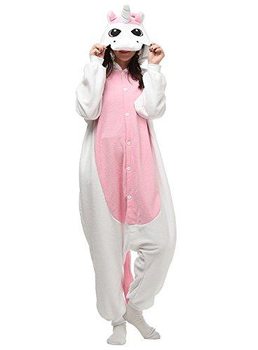 Adult Onesies White Pink Unicorn Pajamas Onesie for Women Men Costume Cosplay Partywear Halloween (Halloween Costumes Male)