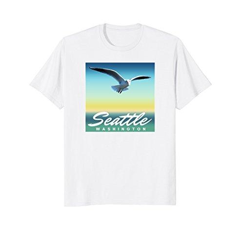 Seattle WA T-Shirt, Washington Seagull - Shopping Downtown Seattle