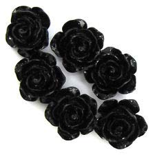6 15mm Synthetic Coral Carved Rose Flower Pendant Bead Black