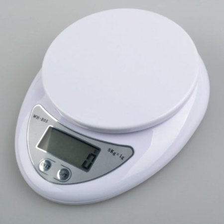 Importer520 White 10lb X 0.04oz Digital Kitchen Scale Diet Food Compact Kitchen Scale 5kg X 1g (Scales 0.1 Ounce Diet)
