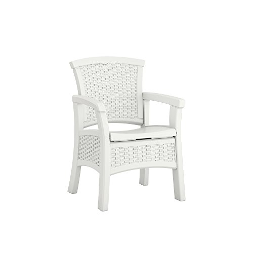 Suncast Elements Dining Chair with Storage - Lightweight, Resin, All-Weather Outdoor Storage Chair - Wicker Patio Decor with Built in Storage Capacity up to 6.3 lbs. - White (Built Seating In Outdoor)