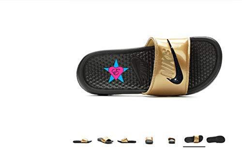 the latest 5352b e5aad Amazon.com  Sale Bedazzled Glitter Black Met Gold Nike Benassi JDI Print  Sport Slides  Handmade