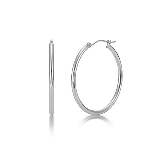 (High Polished 14k White Gold 2mm x 30mm Click Top Tube Hoop Earrings - By Kezef Creations)