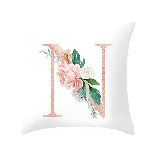 (Throw Pillow Covers, Fulijie Rose Letter Print Throw Pillow Cases Cushion Cover for Bed Car Sofa Home Decor 18 x 18 Inch)