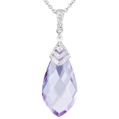 Échiquier Rose-Or blanc 9 carats-Améthyste-Diamant-Pendentif poire &