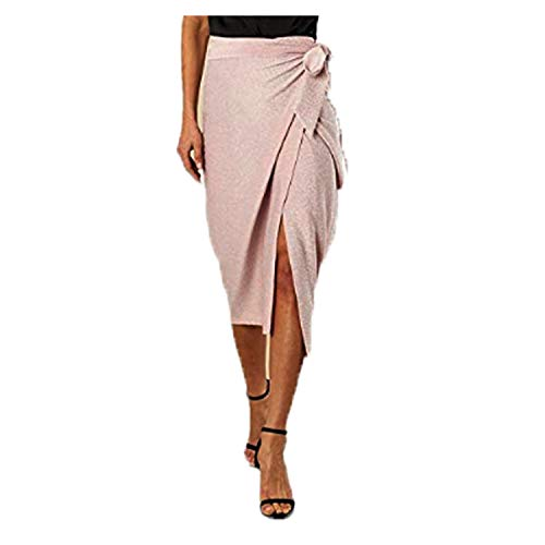 Linsis Women's Tie Midi Skirt High Wasit Bias Cocktail Midy Shkirts M ()