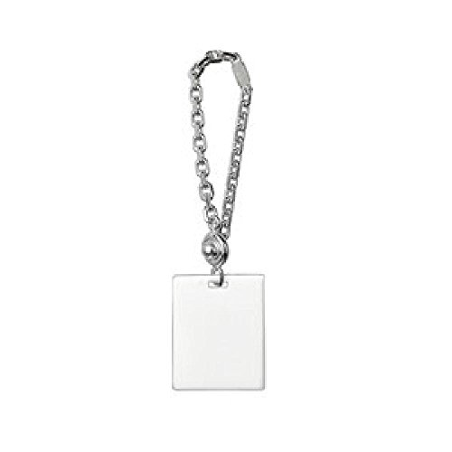 (So Chic Jewels - 925 Sterling Silver Rectangle GI Plate Keychain - Customisable: Your Message Engraved Free)