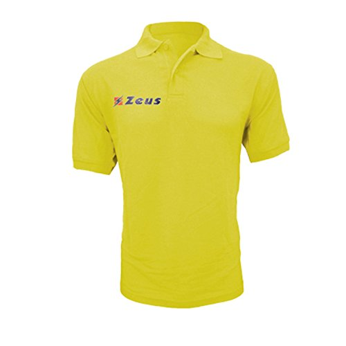 Zeus Herren Polo Shirt Training Fußball Fitness Sport POLO BASIC M/C GELB (2XL)