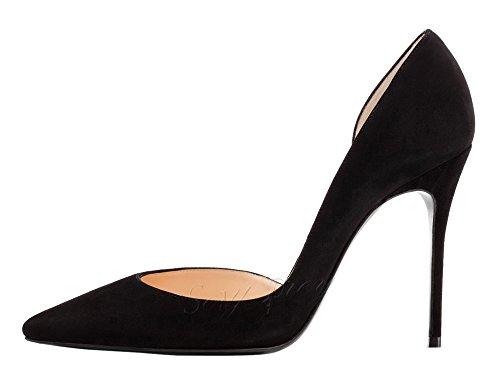 SexyPrey Women's High Heel Sandals Pointed Toe D'orsay Pumps Stiletto Dress Court Shoes Black Suede gvo1J28X