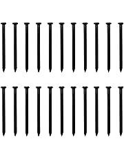 SRJQXH 22 stuks 80 mm lange cementstalen nagels in industriële kwaliteit, koolstofstalen nagels met 4,5 mm diameter, cementspijkers, muurnagels, hardware-nagels (zwart)