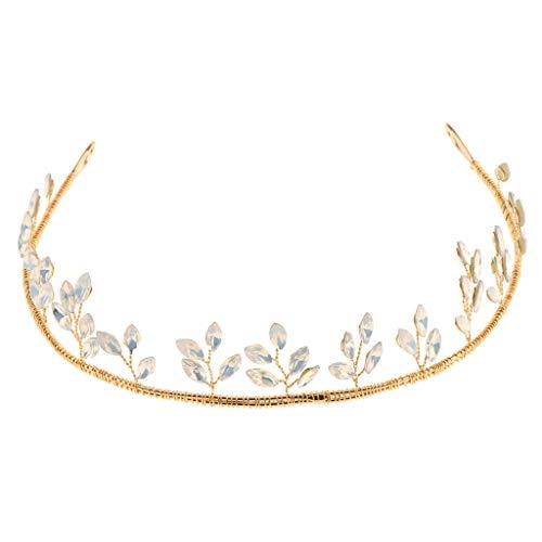 (Vintage Gold Rhinestone Leaf Headband Tiara Wedding Bridal Hair)
