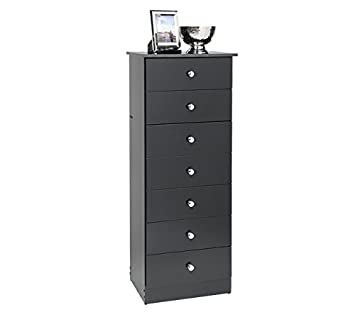 Traditional Tall Black Dresser with Seven Drawers  This Narrow Wood 7  Drawer Lingerie Chest Provides. Amazon com  Traditional Tall Black Dresser with Seven Drawers