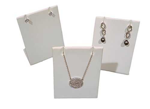 3-Pack White Leatherette Pendant Chain Necklace Display Stand 3.5