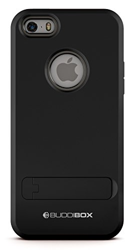 BUDDIBOX iPhone 5s Case,  [Shield] Slim Dual Layer Protective Case with Kickstand for Apple iPhone 5 / 5s / SE, (Black)