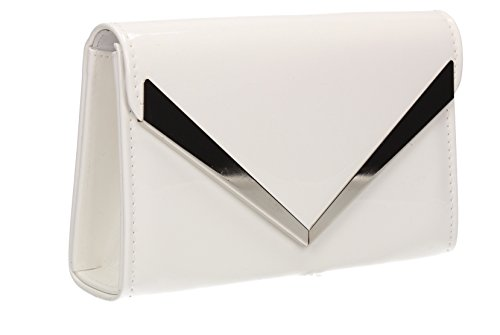 Wendy Envelope Patent Leather Womens Party Prom Wedding Ladies Clutch Shoulder Bag - White by SwankySwans