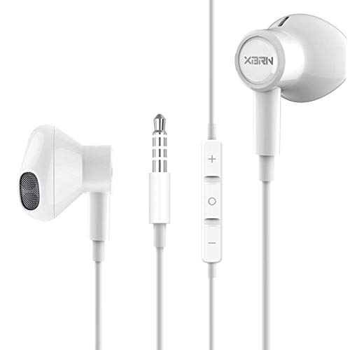 Android Earbuds Headphones with Remote & Microphone, in Ear Earphone Stereo Sound Noise Isolating for iOS and Android Smartphones, Laptops, Fits 3.5mm Interface Device Magnetic Earphones - White