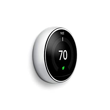 Nest T3019US Programmable Learning Thermostat, 3rd gen, Polished Steel