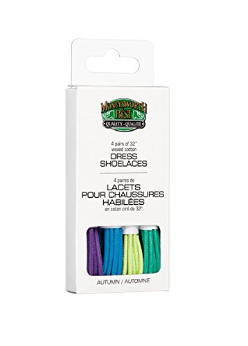 Moneysworth   Best Dress Waxed Colored Shoe Laces 4 Pack   Autumn Colors  32