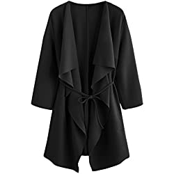 ROMWE Women's Raw Cut Hem Waterfall Collar Long Sleeve Wrap Trench Coat Cardigan with Pockets Black L