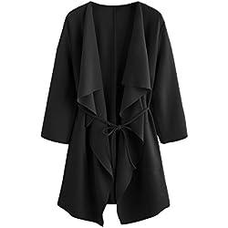 ROMWE Women's Raw Cut Hem Waterfall Collar Long Sleeve Wrap Trench Coat Cardigan with Pockets Black L