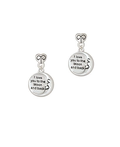 I Love You to the Moon and Back - Scroll Heart Earrings