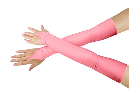 (SHINNINGSTAR Women's Sunscream Stretchy Lycra Fingerless Over Elbow Cosplay Catsuit Opera Long Gloves (Pink))