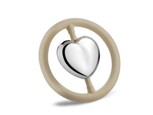 Versilberte Babyrassel Herz im Ring - Edler Beissring zur Taufe oder Geburt mit Wunschgravur FUNICE