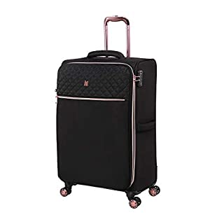 it luggage Divinity Softside Expandable TSA Lock Spinner, Black with Rose Gold Trim, Checked-Medium 27-Inch