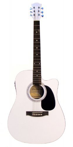 Directly Cheap 6 String Acoustic-Electric Guitar Right Handed White Right Handed GA204CE-WH+Lessons
