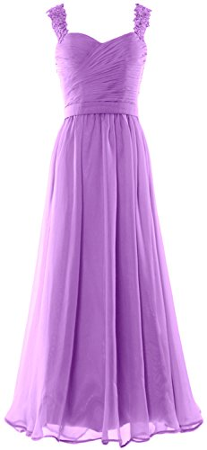 MACloth Women Long Prom Dress Lace Straps Formal Evening Gown with Open Back Lavanda