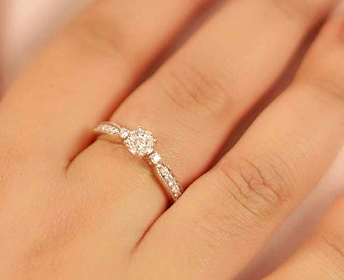 (1/3 Carat Luxury Lab Grown Diamond Engagement Rings For Women Lab Created Diamond Rings SI-GH Quality 10K Diamond Ring Gold Yellow Real Diamond Engagement Rings For Women (Jewlery Gifts For Women))