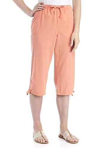Kim Rogers Women's Cinched Hem Sheeting Capris (Coral Swing, -