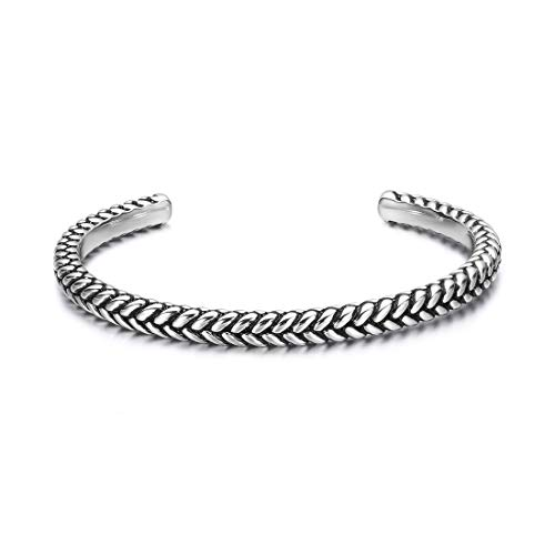 Carleen High Polished 925 Sterling Silver Open Cuff Bracelet Bangle Fine Jewelry for Men Unisex, Adjustable As Needed ()
