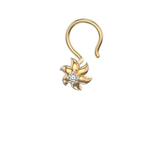 Smjewels 14K Yellow Gold Fn Sim.Diamond Hepatica Heaven Flower Shape Nose Pin For Girls SNSNP372-YG