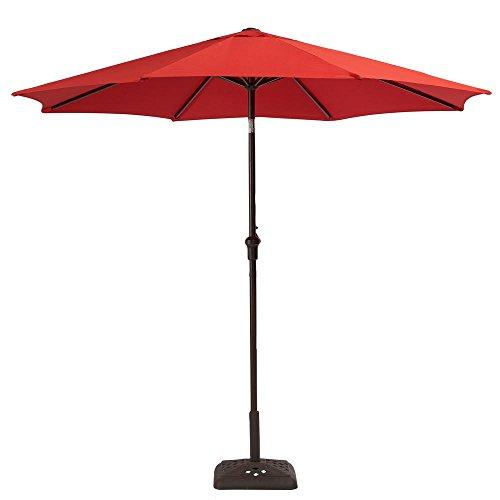 Hampton Bay YJAUC-171-Ruby 9 ft. Steel Crank and Tilt Patio Umbrella in Ruby
