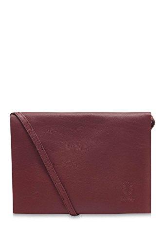 Montte Di Jinne - 100% Soft Italian Leather Ladies Envelope Flap Shoulder Bag Red Plum
