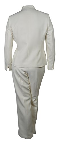 Evan Picone Women's City Chic Textured Three Button Pant Suit (8, Ivory) by Evan Picone (Image #2)'