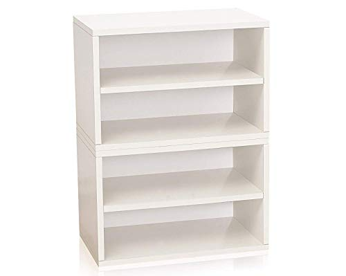 Florence Storage Blox Eco Friendly Modular Shoe Rack and Bookcase Shelving White (Tool-Free Assembly and Uniquely Crafted from Sustainable Non Toxic zBoard paperboard) Deluxe Premium - Bookcase Florence