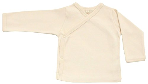 Organic Cotton Baby Kimono Bodysuit GOTS Certified No Dyes (Natural, 3-6m)
