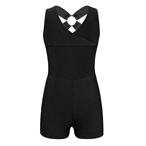 Alvivi Big Girls V Front Gymnastics Ballet Dance Leotard Unitard Bodysuit Sleeveless Sports Outfit Black 8-10 ()