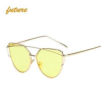 13a9b7be2e1 Skuleer - Cat Eye vintage Brand designer rose gold mirror Sunglasses For  Women Metal Reflective flat