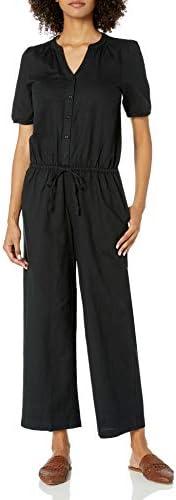 Amazon Brand - Goodthreads Women's Washed Linen Blend Button Front Jump