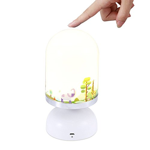 SUPERSWK LED Touch Sensor Dimmable Night Light with Softlight, Stronglight, 10-Minute Turn Off Timer, USB Rechargeable Nightlight Lamp for Baby Rooms, Kids and Adults Bedroom, Nursery, Outdoor (zoo) (Zoo Baby Lamp)