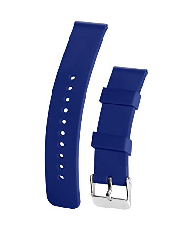 Silicone Watchband Strap,Quick Release,Soft Rubber Surface with Textured Non-Slip Back,Waterproof & Washable, Color & Size Variety, (22mm, Navy Blue) ()