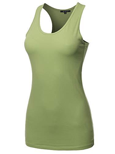 (Women's Basic Solid Soft Cotton Scoop Neck Racer-Back Tank Top Sage Size L)