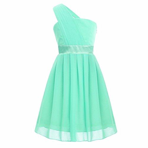 iiniim Big Girls One Shoulder Chiffon Pleated Wedding Bridesmaid Pageant Party Flower Girl Dress Mint Green 14