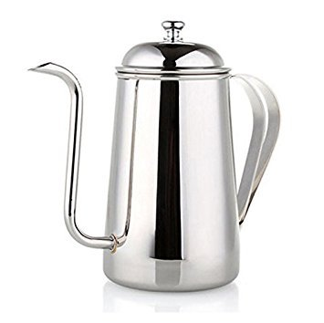 Coffee Pot, Gooseneck Long Narrow Spout 18/10 Full Stainless Steel Coverage with Lid - TASUCY Hanging Ear Hand Blunt, Pour...